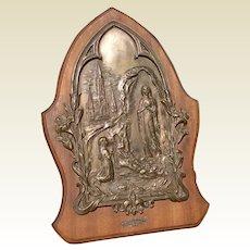 Our Lady Of Lourdes Bronze & Wooden Plaque Music Box