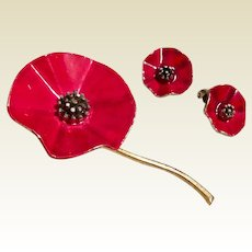 Rafaelian Red Poppy Enamel Brooch & Clip Earrings