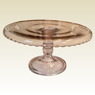 Scalloped Edge Clear Glass Cake Stand