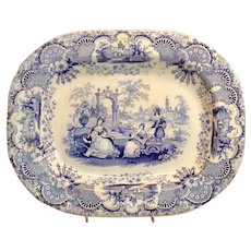 English Antique Blue & White Transferware Large Platter