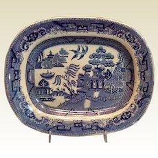 Blue Willow Transferware Platter Unmarked
