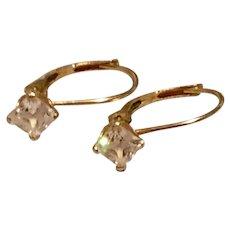 Gold Tone Metal Rhinestone Earrings