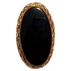 Black Onyx Gold Filled Brooch
