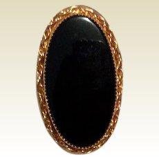 Black Onyx Gold Filled Brooch