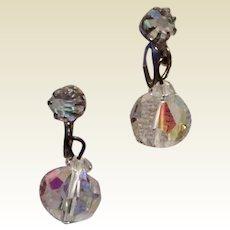 Crystal AB Faceted Dangle Earrings