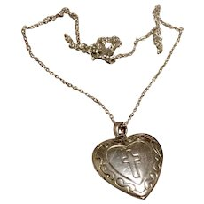 Heart Shaped Locket  Locket & Chain With Cross Sterling Silver