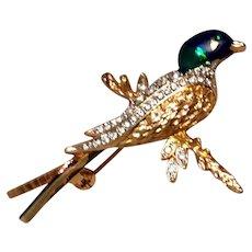 Figural Bird Rhinestone Enamel Brooch