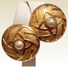 Lanvin Germany Clip Earrings Gold Tone Metal Faux Pearl