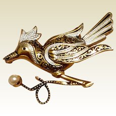 Gold Tone Metal Spanish Damascene Bird Brooch