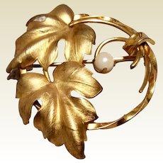 Brushed Gold Filled Leaf Brooch