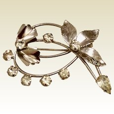 Spiffardi 12K Gold Filled Brooch Clear Rhinestones