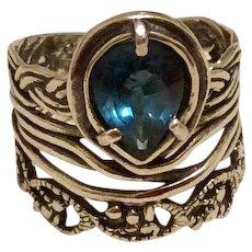 Israel Modernist Blue Topaz Ring Hand Made Sterling Silver