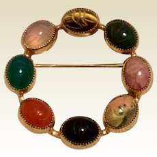 Catamore Scarab Circle Brooch Pin 12K Gold Filled