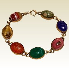 WRE Semi Precious Scarab Bracelet 12K Gold Filled