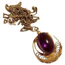 Filigree Amethyst Cabochon Pendant Necklace Gold Filled