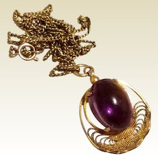 Filigree Amethyst Cabochon Pendant Necklace Gold Filled