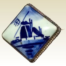 Hand Painted Delft Windmill Brooch Sterling Silver