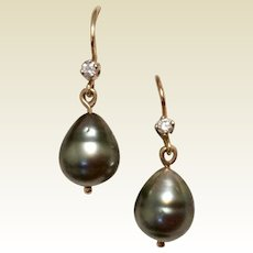Black Tahitian Pearl & Diamond Earrings 14K Gold Dangle