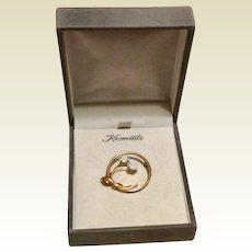 Gold Filled Fiery Opal Brooch Krementz Original Box