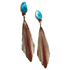 Southwestern Sterling Silver Turquoise Earrings Native American