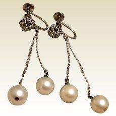 Cultured Pearl Sterling Dangle Earrings