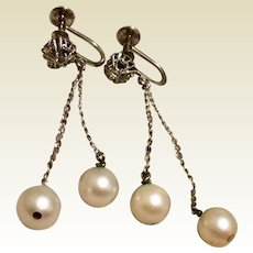 Cultured Pearl Sterling Dangle Earrings