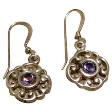 Sterling Amethyst Rhinestone Dangle Earrings