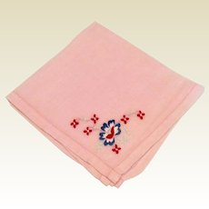Pink Cotton Handkerchief Red Embroidered Flowers