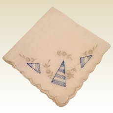 White Scalloped Edge Hankie Blue Grey Embroidery
