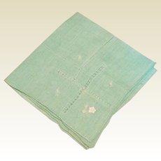 Green Handkerchief With Drawn Work
