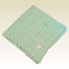 Green Handkerchief With Drawn Work