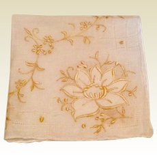 White Handkerchief With Applied Flower Embroidery & Draws Work