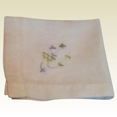 White Hankie Violet & Green Embroidered Flowers