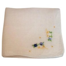 White Hankie Blue Yellow & Green Embroidered Flowers