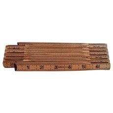 Made In U.S.A. Wooden Ruler Folding Brass 6'