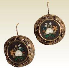 18K Gold Antique Pietra Dura Earrings