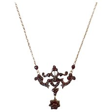 Rose Cut Garnet Day To Night Conversion Brooch Necklace Victorian