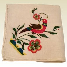 White Linen Hankie With Perched Bird
