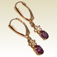 14K Gold Amethyst Diamond Upcycled Dangle Earrings