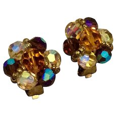 Aurora Borealis Crystal Clip Earrings