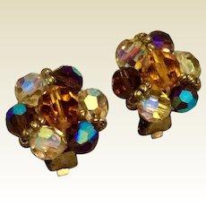 Aurora Borealis Crystal Clip Earrings