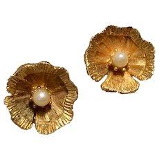 Gold Tone Metal Faux Pearl Clip Earrings
