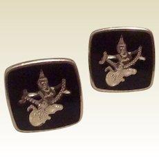 Sterling Silver Black Enamel Siam Cufflinks