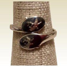 Niello Dancer Ring Sterling Silver Black Enamel  Siam