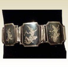 Nielloware Sterling Silver Black Enamel  Siam Goddess Bracelet