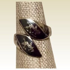 Nielloware Dancer Ring Sterling Silver Black Enamel