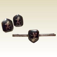Nielloware Sterling Silver Black Enamel Siam Cufflinks & Tie Clip