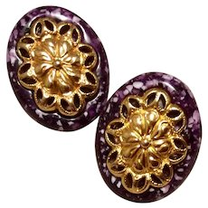 Purple Confetti Lucite Earrings Pierced