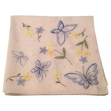 White Hankie Blue  Embroidered Butterflies Blue & Yellow Flowers