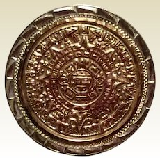 Aztex Calendar Sterling Silver 10K Gold Brooch Pendant